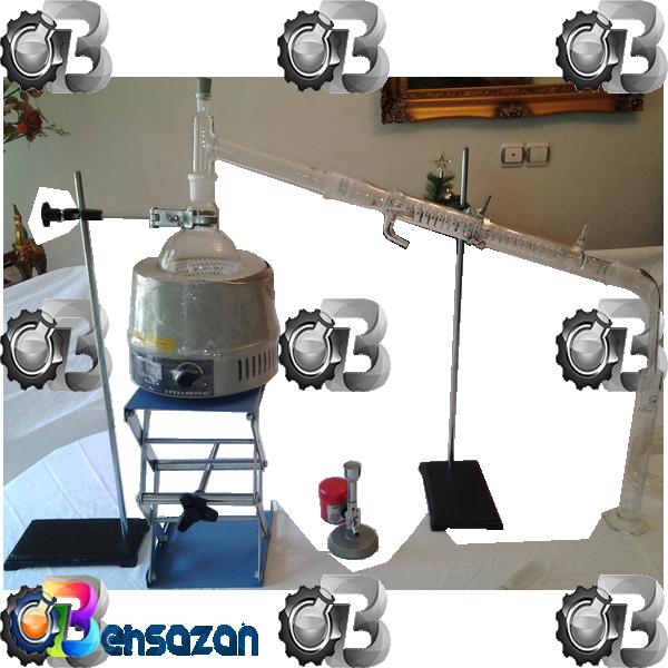 photo of distillation unit of cut backست تقطیرقیرمحلول همراه دما سنج